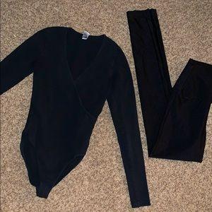 American apparel black bodysuit & leggings